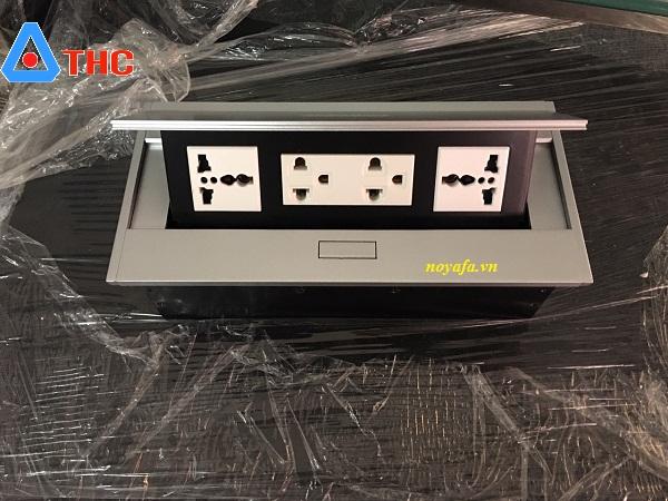 Ổ cắm âm bàn lắp 2 ổ điện 3 chấu đa năng + ổ điện đôi 3 chấu