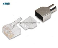 Đầu bấm, Hạt mạng AMP cat6 (3 mảnh), Modular Plug, RJ45, 24-23 AWG, Solid